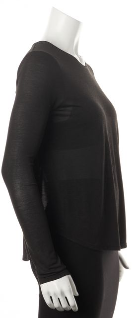 VINCE Black V-Neck Sheer Knit Relaxed Fit Blouse Top