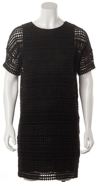 VINCE Black Laser Cut Cotton Short Sleeve Oversized Shift Dress