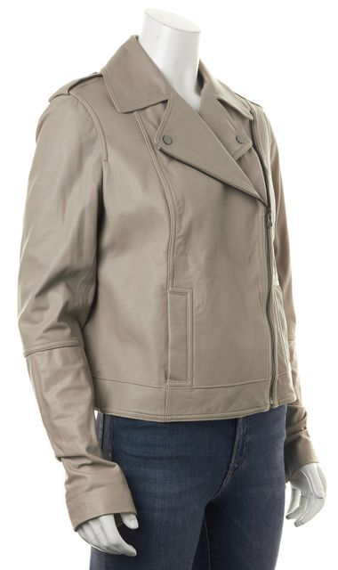 VINCE Beige Leather Asymmetrical Zip-Up Motorcycle Jacket