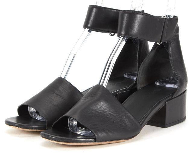 VINCE Black Leather Ankle Strap Low Heel Sandals