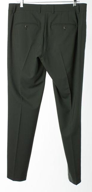 VINCE Green Wool Slim Fit Skinny Ankle Dress Pants