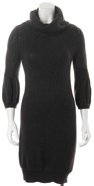 VINCE Gray Charcoal Wool Knit Cowl-Neck Sheath Sweater Dress