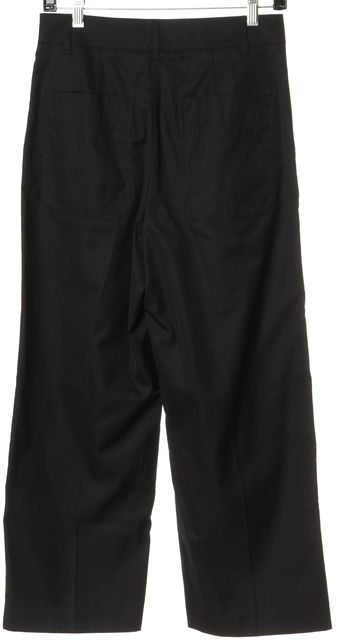 VINCE Black Cotton High Rise Relaxed Straight Leg Trousers Pants