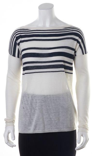 VINCE White Blue Striped Wool Crewneck Sweater