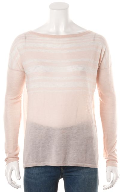 VINCE Heather Pink Beige Striped Sheer Knit Wool Crewneck Top