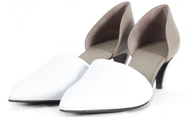 VINCE White Gray Leather d'Orsay Pointed Toe Low Pump Kitten Heels
