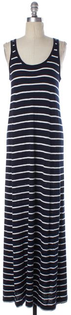 VINCE Navy Blue White Striped Sleeveless Scoop Neck Maxi Dress
