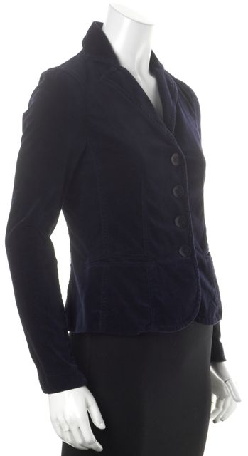 VINCE Navy Blue Button Front Velvet Basic Blazer Jacket