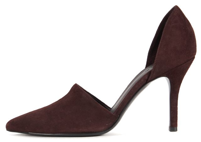 VINCE Dark Purple Suede Pointed Toe Claire D'orsay Pumps