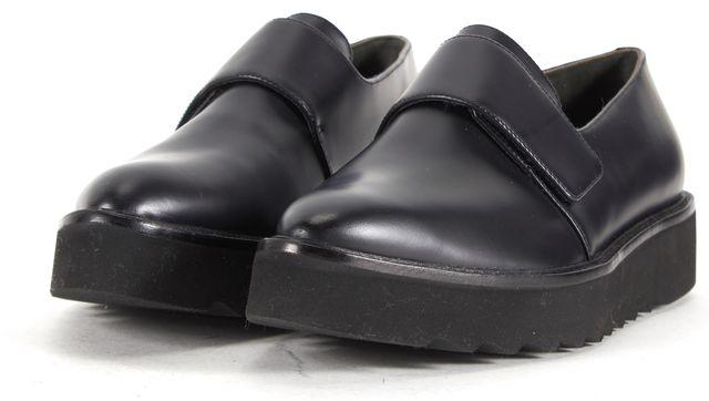 VINCE Black Leather Velcro Pointed Toe Platform Loafer Shoes