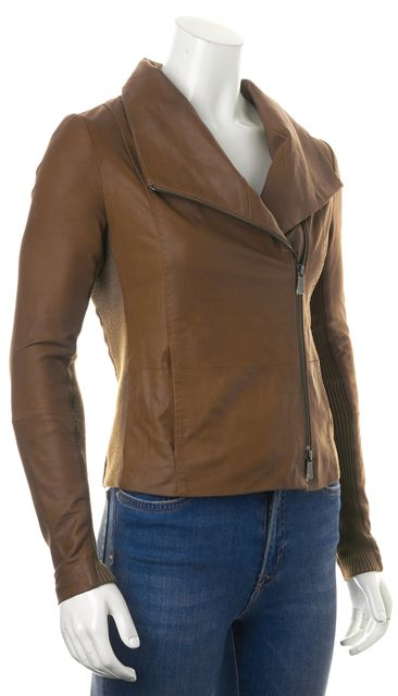 VINCE Brown Goat Leather Cashmere Trim Zip-Up Motorcycle Jacket