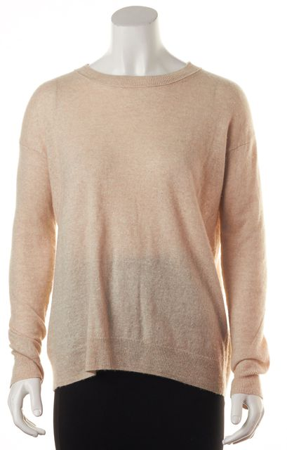 VINCE Beige Long Sleeve Cashmere Crewneck Casual Sweater