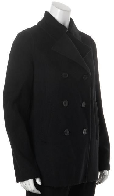 VINCE Black Wool Oversized Double Breasted Basic Peacoat Jacket Coat