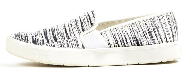 VINCE Ivory Black Snake Embossed Leather Slip On Sneakers