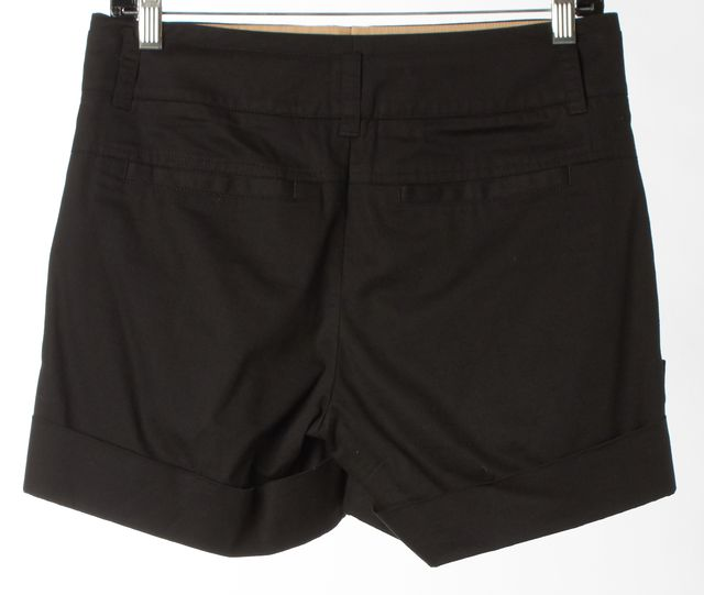 VINCE Black Stretch Cotton Cuffed Chino Shorts