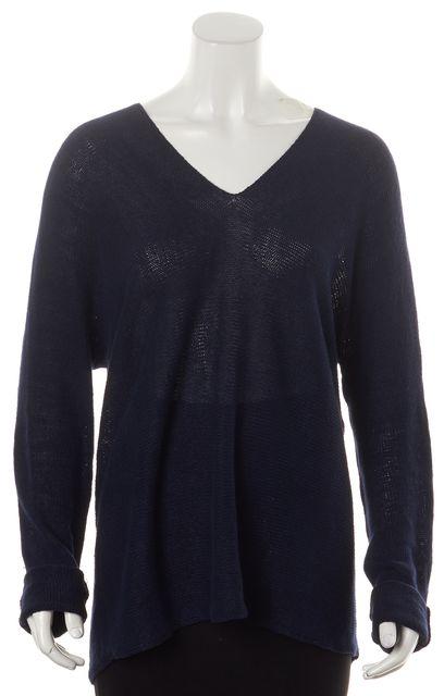 VINCE Navy Blue Linen Dolman Sleeve Oversized V-Neck Sweater