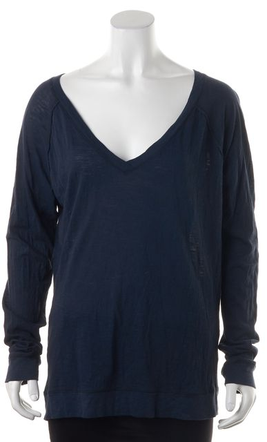 VINCE Navy Blue Cotton Long Sleeve V-Neck Basic T-Shirt