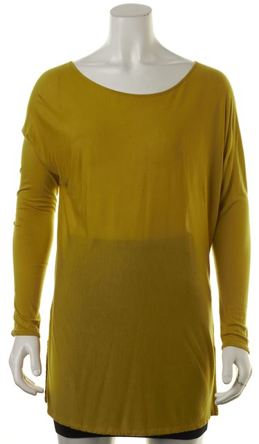 VINCE Chartreuse Green Long Knit Jersey Tunic Top