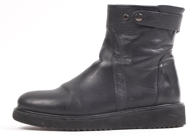VINCE Black Pebbled Leather Side Zip Ankle Boots