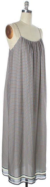 VINCE Beige Blue Orange Geometric Print Silk Thin Strap Maxi Shift Dress