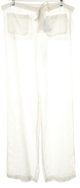 VINCE White Linen Casual Pants