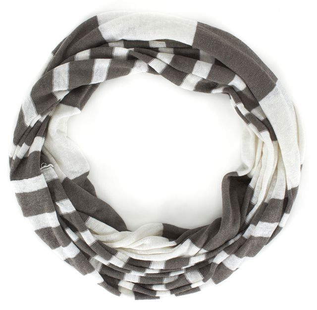 VINCE Brown Ivory Striped Linen Infinity Scarf