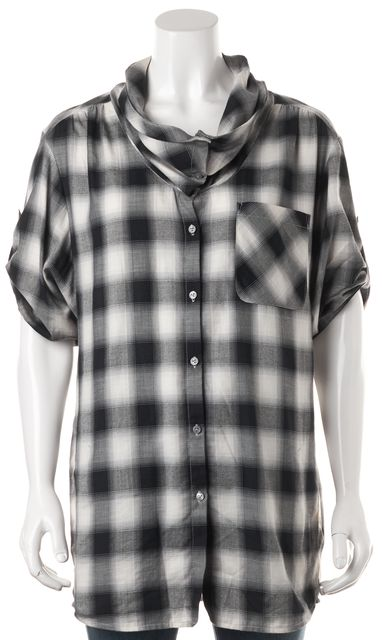 VINCE Black White Plaid Oversized Button Down Shirt Top