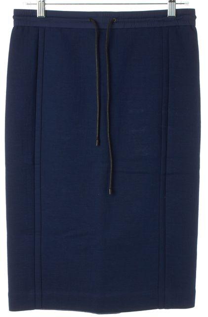 VINCE Royal Blue Straight Drawstring Knee Length Stretch Skirt