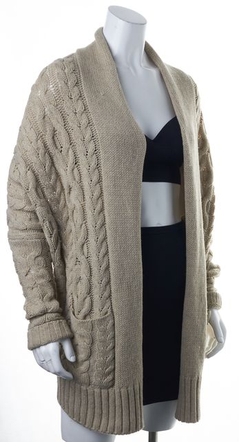 VINCE Beige Wool Relaxed Fit Oversized Open Drape Cardigan