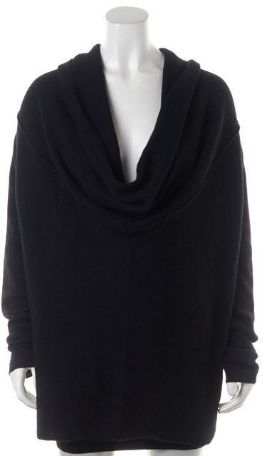 VINCE Black Merino Wool Long Sleeve Cowl Neck Sweater