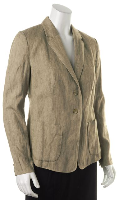 VINCE Brown Linen Two Button Patch Pockets Blazer Jacket