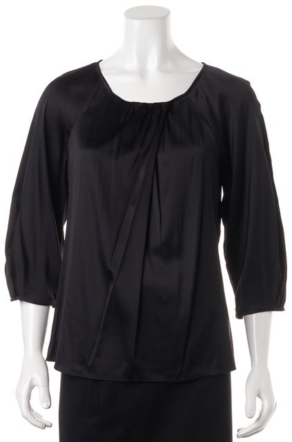VINCE Black Silk Relaxed Fit Boat Neck Blouse Top
