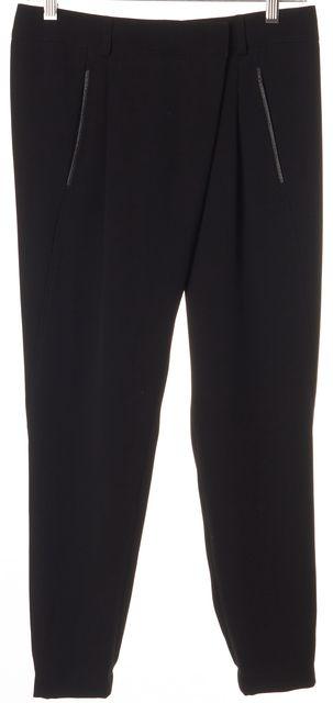 VINCE Black Leather Trim Cropped Trouser Dress Pants