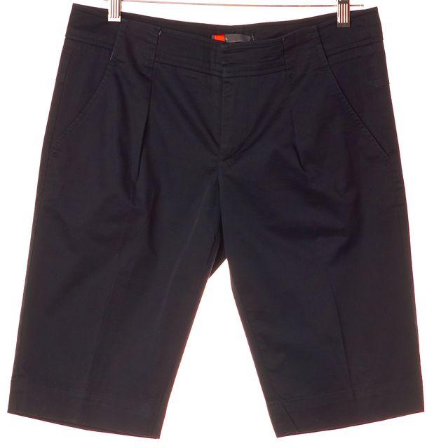 VINCE Navy Blue Stretch Cotton Pleated Bermuda Dress Shorts