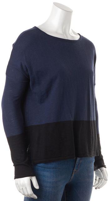 VINCE Blue Black Colorblock Boat Neck Knit Top