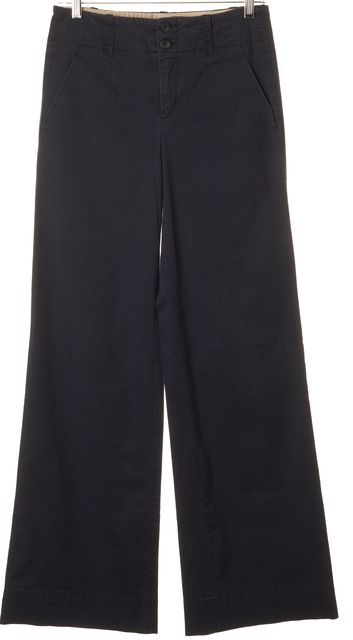 VINCE Navy Blue Casual Wide Leg Flare Pants