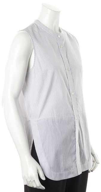VINCE White Blue Striped Tunic Top