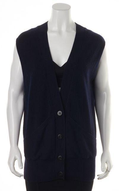 VINCE Blue 100% Cashmere Button Down Sleeveless Vest
