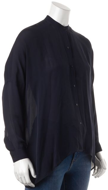 VINCE Navy Blue Relaxed Fit Oversized Semi Sheer Blouse Top