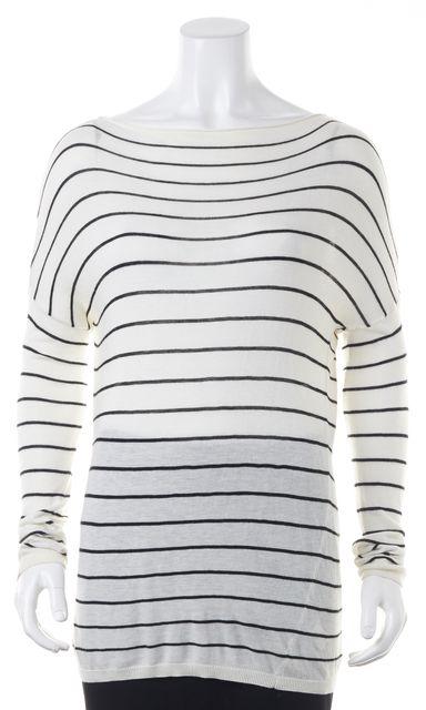 VINCE White Black Striped Semi Sheer Long Sleeve Knit Jersey Top
