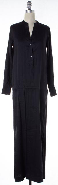 VINCE Black Solid Linen Long Sleeve Maxi Shirt Dress