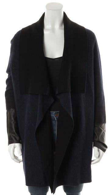 VINCE Navy Blue Wool Knit Long Sweater Jacket Open Cardigan