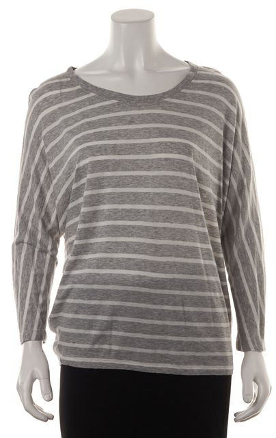 VINCE Heather Gray White Cotton Modal Jersey Striped Relaxed Fit Tee Top
