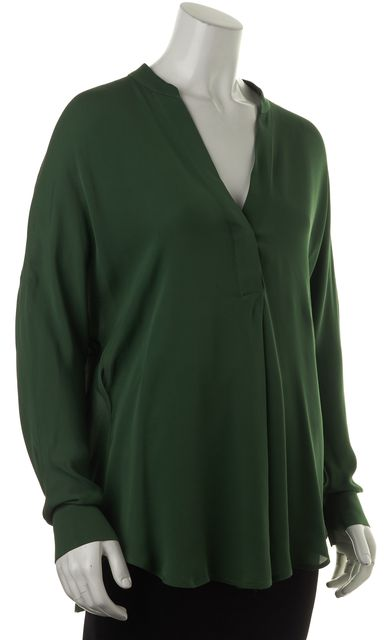 VINCE Green Long Sleeve V-Neck Asymmetrical Hem Blouse Top