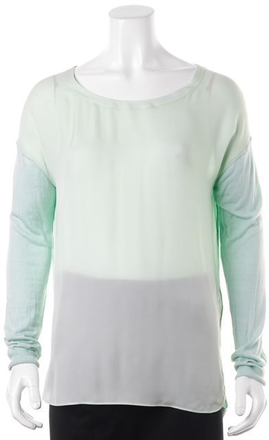 VINCE Mint Green Silk Front Knit Back Oversized Blouse Top