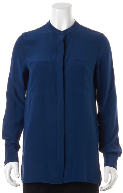 VINCE Blue Silk Relaxed Fit Oversized Button Down Blouse Top