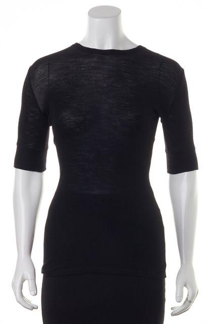 VINCE Black Woo Stretchl Knit T-Shirt Top