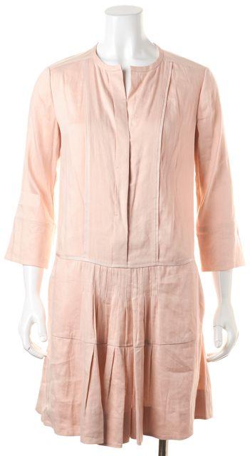 VINCE Rose Pink Linen Pleated Above Knee Shift Dress