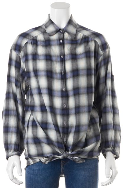 VINCE Blue White Plaid Button Down Shirt