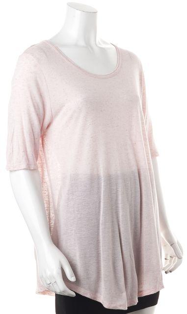 VINCE Pink Knit Semi-Sheer Top
